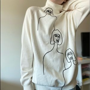Line drawing stitched turtleneck / long